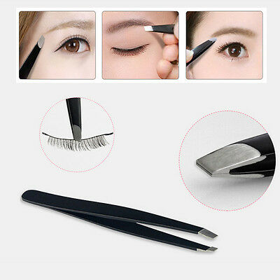 Hot Fashion Women Beauty Tool Slanted Stainless Steel Eyebrow Hair Tweezers New