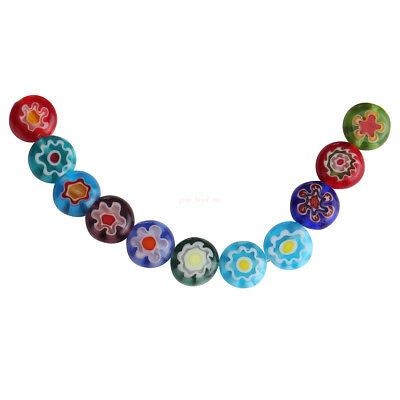 50Pcs Mixed Color 8mm Flower Round Glass DIY Loose Spacer Flat Beads Finding C