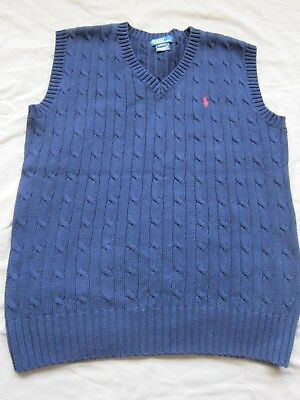 Polo Ralph Lauren Boy's Cotton Vests - size L (16/18) Navy Blue