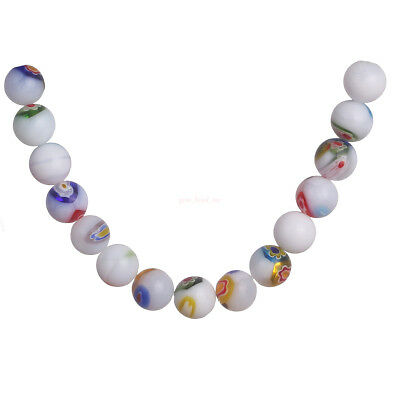 50Pcs White Jade 6MM Round Flower Glass DIY Loose Spacer Beads Jewelry Finding C