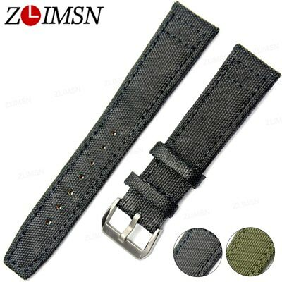 ZLIMSN Black Nylon Leather Watch Band Military Strap Pin Buckle Replacement 22mm