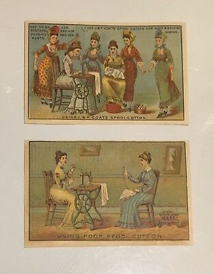 Victorian Era Trade Cards -Lot of 2 - J. & P. COATS Spool Cotton 1880