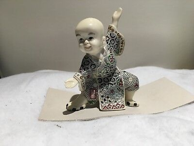 chinese ceramic doll martial arts pose white