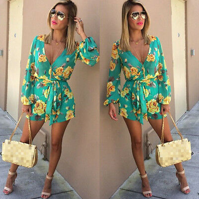 UK STOCK Womens Holiday Mini Playsuit Ladies Jumpsuit Romper Summer Beach Dress