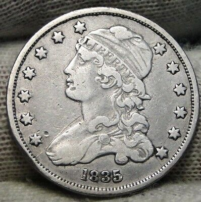 1835 Capped Bust Quarter 25 Cents - Nice Coin, Free Shipping. (7193)