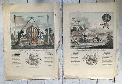 Rare Pair Of Antique Circa 1780s French Balloon Humorous Engravings Montgolfier