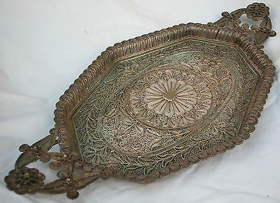 A Fine Solid Silver Antique Middle Eastern Hand Made Filigree Master Piece Tray