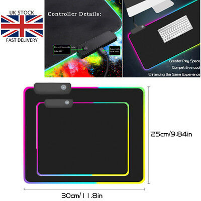 MONTIAN Black Led Gaming Mouse Pad Board anti-slip Mouse Mat 350 x 200 x 4mm UK