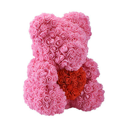 """New 15"""" Pink Rose Flower Teddy Bear Plush Toys For Girlfriend Wedding Xmas Gifts"""
