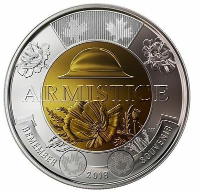 2018 Canada $2 Uncoloured Variety Coin  Armistice 100 Years Remembrance Day