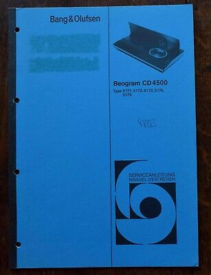 Bang & Olufsen BEOGRAM CD 4500 SERVICE MANUAL, B&O, IN GERMAN & FRENCH