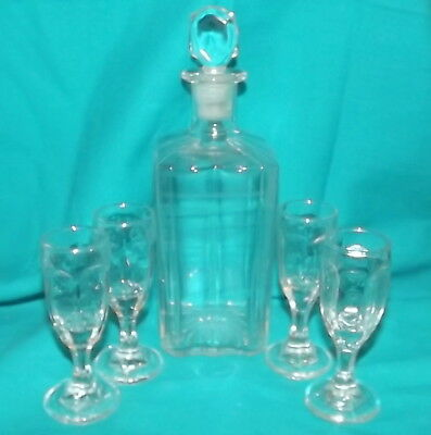 Vintage Decanter set whiskey Brandy wine decanter and 4 snifter glasses