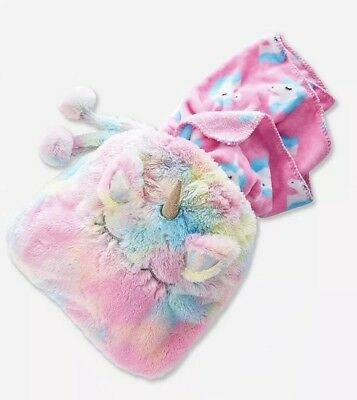 New Justice Girls Rainbow Unicorn Blanket in a Bag Soft
