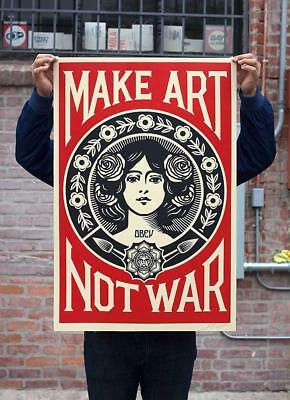 obey shepard fairey MAKE ART NOT WAR signed 2018