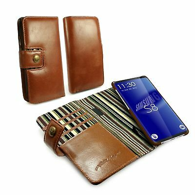 Alston Craig Personalised Leather Magnetic Wallet Case for Galaxy S8 - Brown