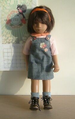 Pinafore dress , cotton blouse and silk pants for the larger Sasha doll.