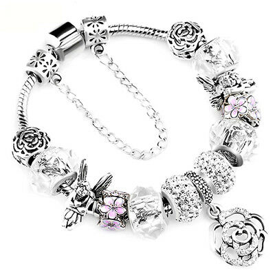 "Authentic Pandora Bracelet With ""Love Story"" European Charms Silver Bangle"