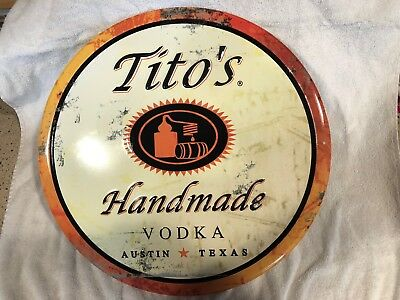 Tito's Handmade Vodka Metal Tin Sign 17 1/2 Inches...new!!!!!
