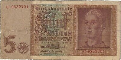 1942 5 Reichsmark Hitler Youth Swastika Nazi Germany Currency Banknote Bill Wwii