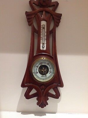 Antique Barometer & Thermometer in Carved light oak 19 inches tall