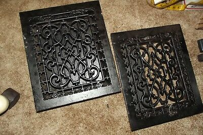 2 Antique Cast Iron Wall Floor Heating Vent Grate Registers, Pat. Aug. 8 1886