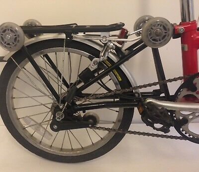 New black Pannier Rack/Carrier For Brompton Bikes-W/easy wheels *SHIP WORLDWIDE*