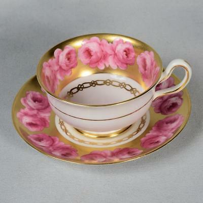Beautiful Royal Chelsea Teacup & Saucer - White/ Pink Roses Lots Of Gold