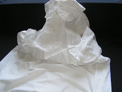 B'ful Antique/vintage Long White Night Gown With Dep Frilly Collar/front/sleeves