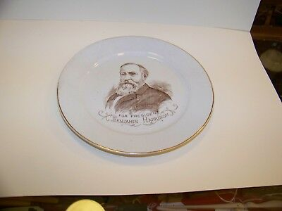 Old collectible antique 1888 Benjamin Harrison ironstone plate china President