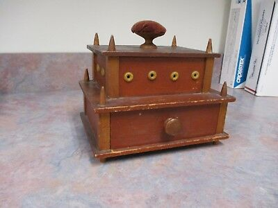 Shaker Sewing box, Pin Cushion,  2 tier original red paint over cherry and pine