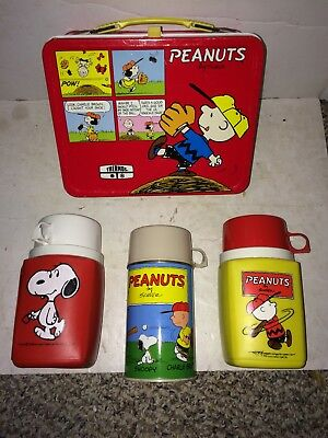 Vintage 60s/70s Peanuts Charlie Brown Snoopy Metal Lunchbox,Three Thermoses