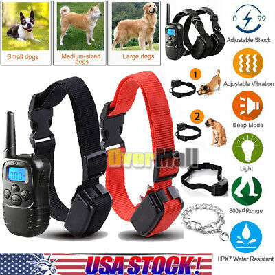 8 Style Waterproof 800-1100 Yard Pet Trainer Shock Training Collar For 1 2 Dogs