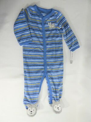 Boys Blue Terry Cloth w/ Bear Feet 1-Piece by Carter's Size 9M, NEW W/ TAGS