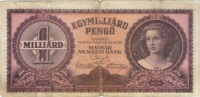 1946 1 One Billion Pengo Hungary Currency Banknote Note Money Bank Bill Cash