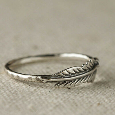 Antique Feather Ring Silver Plated Carved Wheat Shaped Fashion Ring S