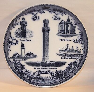 "1890s ""Views of Provincetown Mass"" Souvenir Plate"