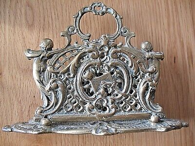 Old antique ornate cast brass double letter rack with Cherubs Putti