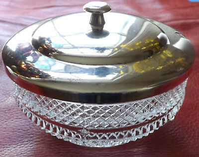 Vintage Silverplate, Silver Plate Top , Glass Bottom Sugar Bowl