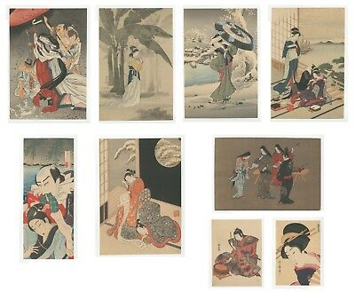 Reproduction Japanese Woodblock Prints, Ukiyo-e, Set of 9, Edo Beauty, Kabuki