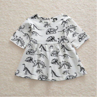 Cartoon Dinosaur Printed  Baby Girls Long Sleeve Tops Ruffled Dress Toddler S