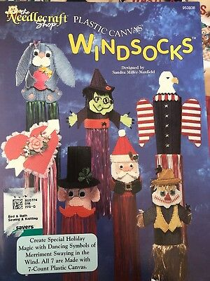 Plastic Canvas Windsocks Pattern Chart Book 7 Holiday Designs  USA Bald Eagle