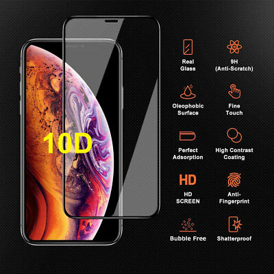 10D 9H Tempered Glass For iPhone XR XS 8 6s Screen Protector Full Curved Guard