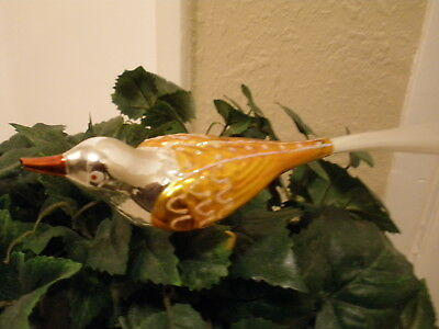 Vintage Clip On Bird Ornament Gold and Silver with Filament Tail