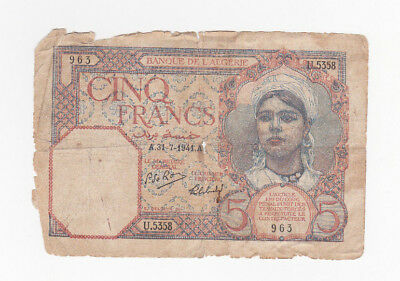 5 Francs Vg Banknote From French Algeria 1941!pick-77