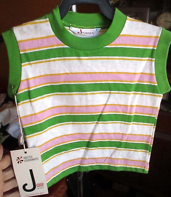 NEW NWT 6 True Vtg 70s PINK GREEN STRIPE JEANIE SLEEVELESS GIRLS T-shirt TOP