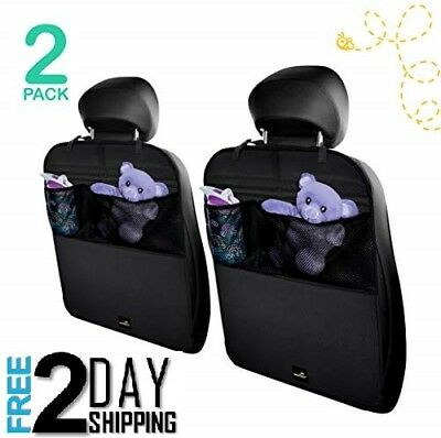 Car Seat Protector Kick Mats Cover Stylish Easy Care 2 Pack Luxury with pockets