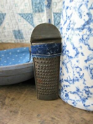 Early Antique Handpunched Dark Tin Spice Grater Wrapped in Antique Blue Calico