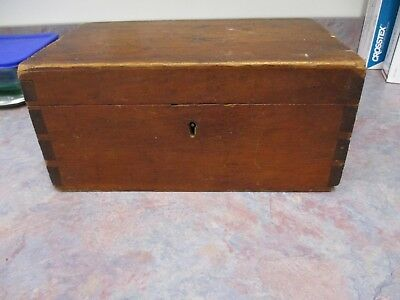 Sewing box, document box, pine fitted interior, hand dovetailed original finish