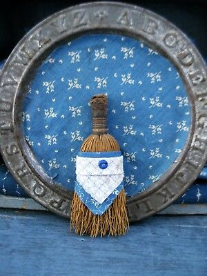 Tiny Early Antique Toy Broom Wrapped in Late 1800s Blue Calico