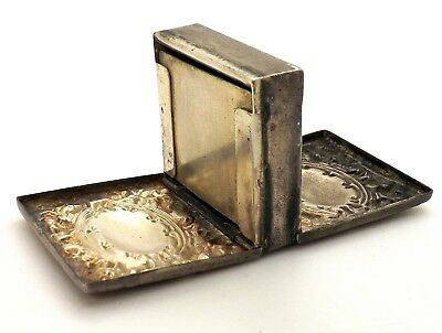 Antique Whiting Mfg. Repousse Sterling Silver Double Stamp Case Box ~4236~